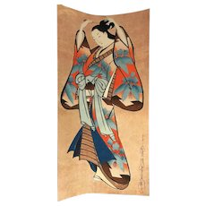 Vintage Japanese Woodblock Geisha with Kanzashi Hair Pins Print