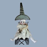 Antique Mignonette French German Doll Hat Dresden Christmas Ornament