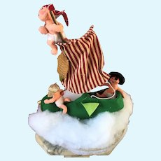 Vintage Annalee Pirate Ship Doll in Christmas Elf Shoe