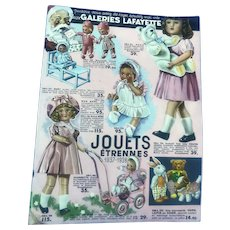 Old Vintage French Poupee Jouets Raynal Doll Toy Teddy Bear Christmas Catalogue
