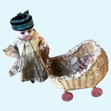 Celluloid Mignonette Doll Twins in Wicker German Miniature Dollhouse Carriage Toy