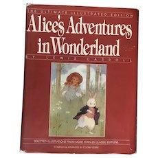 Vintage Alice in Wonderland Book Lewis Carroll D/J Ultimate Illustrated Edition