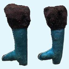 Antique French Blue Mignonette Doll Leather Fur Trim Heeled Shoe Boots