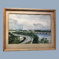 Vintage Washington D.C. District of Columbia Art Painting signed