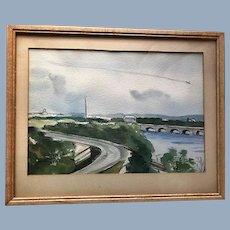 Vintage Washington D.C. District of Columbia Art Painting signed