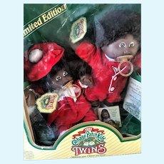 Vintage 1985 Black American Cabbage Patch Kids Twin Dolls Mint in Worn Box NRFB