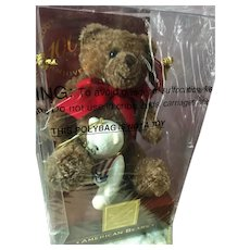 Vintage Lenox American Plush Teddy Bear & Porcelain Christmas Ornament MIB