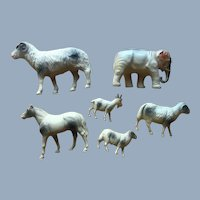 Vintage Celluloid Horse Sheep Goat Elephant Putz Animal Toy Lot