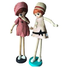 Vintage 2 Mod Dakin Dream Big Eyes Doll Pair 1960's Japan with Tag