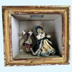Antique French Court Wood Doll Marquis & Marquise Louis XV1 M.Philippart Diorama Shadow Box Museum Worthy