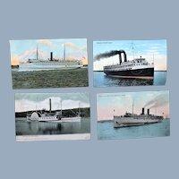 4 Steamer Paddle Boat Mt Washington North Land Yale Governor Dingley Postcard Lot