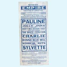 Antique Mathews Empire Theatre of Varieties Pierrot etc Advertisement Stage Advertisement Broadside