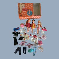 1960s (3) Tutti Barbie Family Doll Lot with Wardrobe Case and Accessories