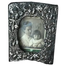 Antique Miniature Silver Repousse Metal Floral Picture Frame