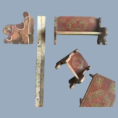 Vintage Folk Art Painted Stenciled Wood Dollhouse Doll Furniture with Dog Motif