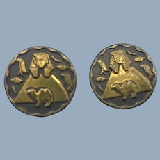(2) Old Vintage Egyptian Sphinx Hieroglyphics Camel Metal Sewing Buttons