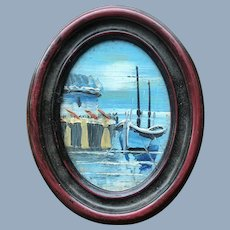 Miniature Doll Dollhouse Oil Painting Seascape Art