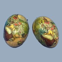 Antique Easter Egg Bunny Rabbit Family in Garden Lithographed Candy Container Ornament