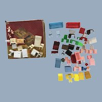 Vintage Allied >60Pc. Dollhouse Miniature Furniture Lot in Original Doll Rooms Box