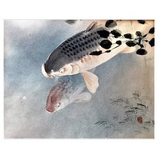 Antique Japanese Asian Art Carp Koi Watercolor Painting signed Sesshu Pisshu