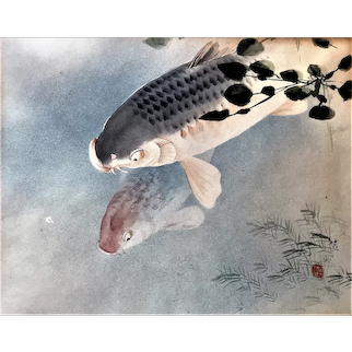 Antique Japanese Asian Art Carp Koi Watercolor Painting signed Sesshu Pisshu