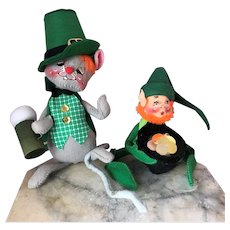 2 Vintage Annalee St. Patrick's Day Beer & Leprechaun 1990s Doll Pair A+ Condition