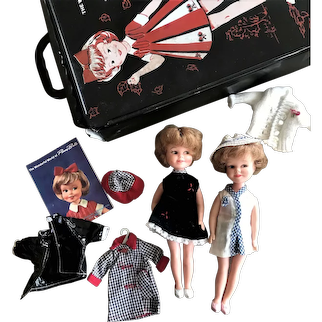 2 Penny Brite Dolls with Case & Wardrobe De Lux Reading Corporation