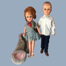 1960s Uneeda Suzette & Bob Teen Fashion Doll Pair