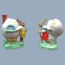 2 Old German Easter Bunny Rabbit Egg Porcelain Cup Pair