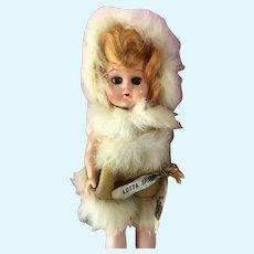 "Vintage 9"" Clicquot Club Advertising Banner Hard Plastic Eskimo Fur Garb Doll"