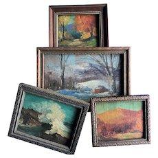4 Impressionistic Sam Sargent Newburyport Gloucester Ma. Land Seascape Painting