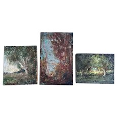 3 Old Vintage Impressionistic Art Miniature Landscape Oil Paintings