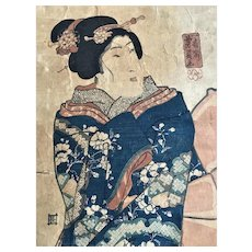Antique Japanese Hanging Scroll Woodblock Pillar Print