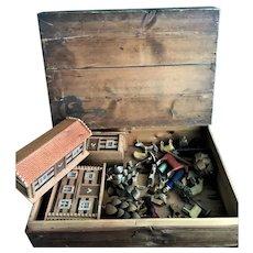 Antique Erzgebirge German Wood Farm House Village Ark Animals Toy in Original Wood Box