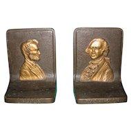 Lincoln & Washington Bookends by Bradley & Hubbard
