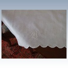 """Hand Embroidered Damask Huck Linen Towel With Hand Embroidered """"K"""""""