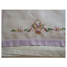 Pr. Hand Embroidered Linen Towels C:1950 - Red Tag Sale Item