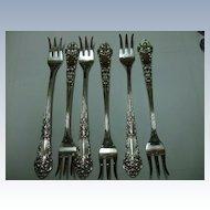 "Set of 6 Sterling ""French Renaissance"" Cocktail Forks"