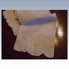 """Hand Embroidered Damask Linen Towel With Hand Embroidered """"M"""""""