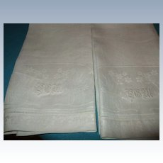 """Set Of 10 Huck Damask Linen Towels With Hand Embroidered """"HGM"""" C:1950"""