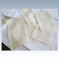 Set Of 6 Pale Yellow Linen Fingertip Towels