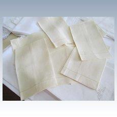 Set Of 6 Pale Yellow Linen Fingertip Towels