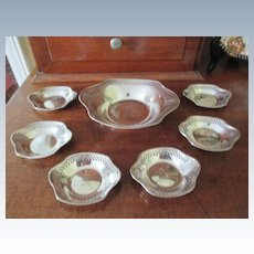 7 Piece Sterling Master Nut & Individual Nut Dishes
