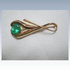 Custom Designed 14K/Emerald Brooch