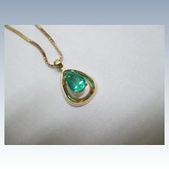 "14K Yellow Gold/Emerald Pendant With 20"" 14K Chain"