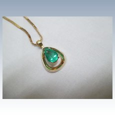 """14K Yellow Gold/Emerald Pendant With 20"""" 14K Chain"""