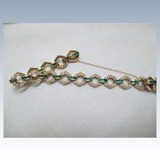 "14K Yellow Gold, Diamond And Emerald Bracelet 7 1/4"""
