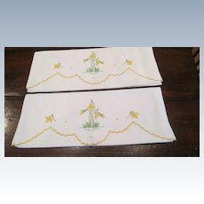 Pr. English Hand Embroidered Pillow Cases