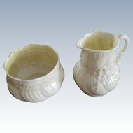 "Discontinued Belleek ""Ribbon"" Cream And Sugar"