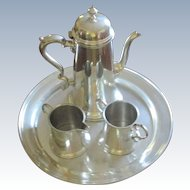 Vintage Boardman 4 Pc Pewter Coffee Set With Tray